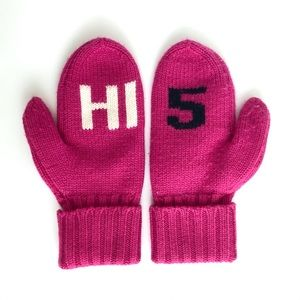 Kate Spade Pink Hi 5 Knit Wool Mittens